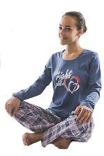 Damen-Pyjama Schlafanzug (DW600blau) Gr. 40-42 NEU