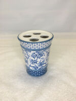 Martha Stewart Everyday Blue White Floral Toothbrush Holder  Ceramic