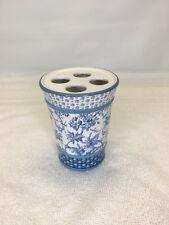Martha Stewart Everyday Blue White Floral Toothbrush Holder  Ceramic