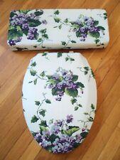 Waverly Sweet Violets Blue Lavender Bathroom Decor Toilet Seat Lid Cover Set