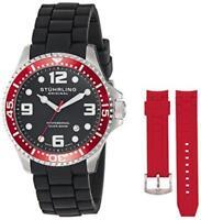 Stuhrling  675.02 675 02 SET Aquadiver Swiss Quartz Red Accented Mens Watch Set