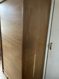 Vintage retro Solid oak Office Shelving cabinet 60s 70s Danish Style tambour