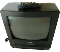 "Vintage Sharp 13"" TV VCR Combo CRT Retro Gaming Television w/Remote 13VT-N100"