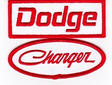 DODGE CHARGER WHITE RED SEW/IRON ON PATCH BADGE EMBROIDERED HEMI MOPAR