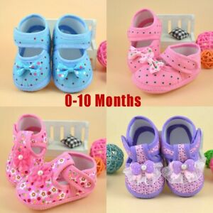 Newborn Baby Girls Bowknot Flower Lace Boot Soft Sole Crib Shoes Prewalker Shoes
