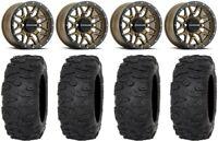 "Raceline Krank 14"" Wheels Bronze +38mm 30"" Roctane XR Tires Sportsman RZR Ranger"