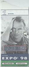 STING  USED CONCERT TICKET PORTUGAL 01/ 08/ 1998