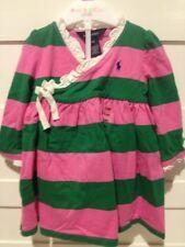 NWT Ralph Lauren Pink & Green Striped Wrap Dress Girls 12M