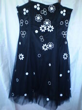 Black Teatro Strapless  Dress with White Appliqued Daisy's & Spots Size 18