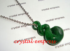 FENG SHUI - JADE DOUBLE TWIST INFINITY 8 NECKLACE (STAINLESS STEEL)