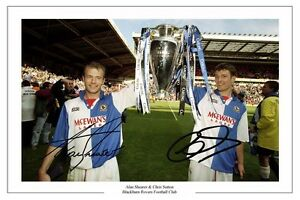 CHRIS SUTTON AND ALAN SHEARER BLACKBURN ROVERS SIGNED PHOTO PRINT POSTER