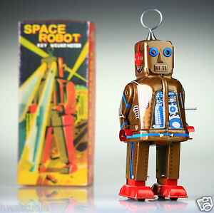 Vintage Collectable Tin Toy Japanese Space Robot Wind Up Gold Replica Retro Gift