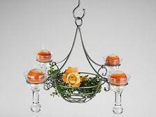 Exclusivo Lámpara Colgante 4flm. Plata con Gotas y Cesta Decorativa D 50 Cm