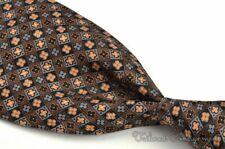 "STEFANO RICCI Brown Floral Geometric 100% Silk Mens Luxury Tie - 4.00"""