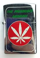 'The Prescribed Medicine' Windproof Flip Lighter - Cannabis Marijuana Leaf Weed