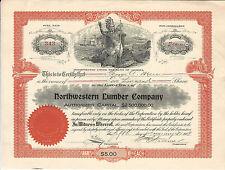 Washington Northwestern Lumber Company Stock Certificate 1909 Hoquiam