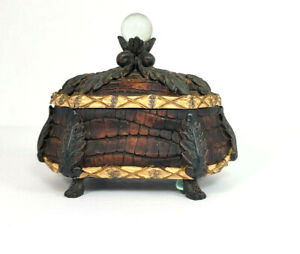 Jungle Theme Trinket Box Brown Textured Jewelry Coins