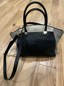 Vince Camuto Addy Leather Satchel Colorblock Quilted Black/Gray/Ivory/Gold