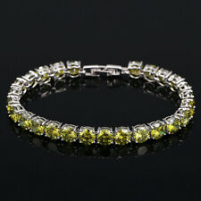 New Round Cut Charm Oliver Green Citrine Gems Women Fashion Silver Bracelets