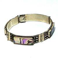 Vintage Mexico Abalone Bracelet Signed Iguala Shell Panel Link Sterling Silver
