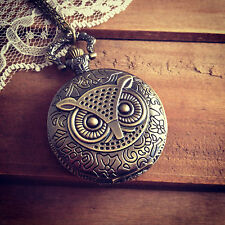 Vintage Style Pocket Watch Necklace Owl Face Pocketwatch Antique Bronze Pendant