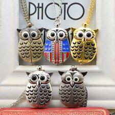 Fashion Bronze Retro Slide Owl Pendant Long Necklace Analog Pocket Watch Gift