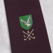 BLVS GOLF CLUB SCUDO Crest Motivo Cravatta Vintage con Borgogna GOLF 1980s 1990s