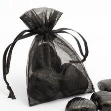 BLACK Luxury ORGANZA Favour Bags x10 Pieces - Wedding Gift Pouches - 12x17cm