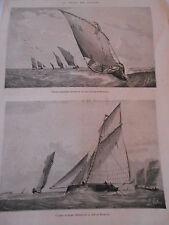Gravure 1873 - La Pêche des huitres Les Bateaux dragueurs