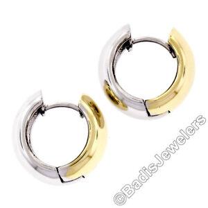 Solid 14K Yellow & White Gold Petite Wide Reversible Hoop Huggie Snap Earrings