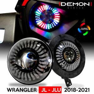 LED Demon Halo Headlights for Jeep Wrangler JL JLU Gladiator 2018 2019 2020 2021