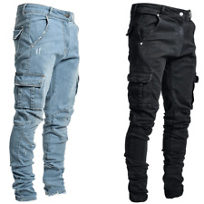 Mens Ripped Jeans Stretch Skinny Trousers Casual Stretch Slim Denim Jogger Pants