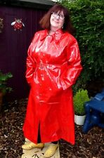 shiny lipstick gloss red PVC raincoat mackintosh  46 chest 49 long TV new sizes