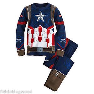 NWT DISNEY STORE Avengers Captain America Boys Pajamas PAL Pajama Set