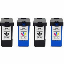 4pk Lexmark 36XL 37XL BLACK & COLOR Ink Cartridge for X3650 X4650 X5650 36 37