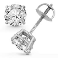 2.00 Ct Round Cut Natural F SI2 Diamond Certified Stud Earrings 14K W/ Gold