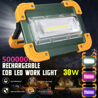 900000lm COB LED Work Light Rechargeable Flashlight Flood Lamp W/Stand Waterproo