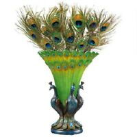 Peacock Bird Feathered Crystalline Centerpiece Vase Home Decor