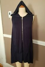 Fabulous Navy Blue Hooded Zippered Dress W/Pockets By Dakini!! Size Small!!