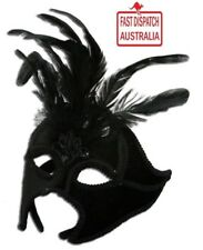 Devilish BLACK Velvet Masquerade Mask with Feathers * Lift Up Design