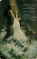 DB Religious Postcard E256 Woman Clinging to Cross in Ocean Waves Cancel 1914