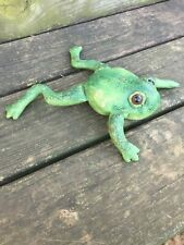 green fabric painted FROG decor