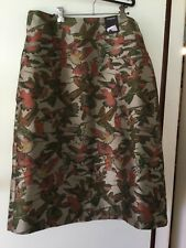 UK Autograph Green Hummingbird Brocade fabric Midi lined Skirt UK size 16 EU 44