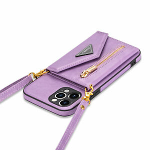 For iPhone 12 11 Pro Max XR XS 876Plus Leather Wallet Crossbody Strap Stand Case