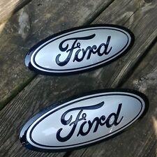 2015-17 Ford F150 GRILL & TAILGATE emblem (2) CUSTOM INGOT SILVER & GLOSS BLACK