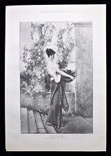 AUTUMN LADY WOMAN GATHERING GRAPES GRAPE VINE VICTORIAN GENRE PRINT 1892