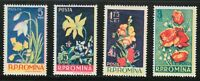 Romania 1956 MNH Mi 1589-1592 Sc 1112-1115 Flowers in Natural Colors **