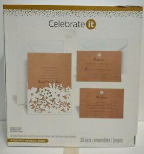 Celebrate It Wedding Invitation Kit Set of 30 White Floral Cutout on Kraft (Tan)