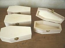 "Lot of (4) 6"" UNFINISHED Pine wood Miniature COFFIN ~ Halloween DIY decor"