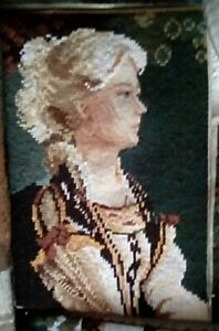 NEEDLEPOINT PICTURE, LADY LOOKING STRAIGHT, PETIT POINT FACE, GREAT CONDITION